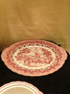 VTG GRINDLEY hand engraving Country Style Staffordshire Lg Oval Plate & bowl