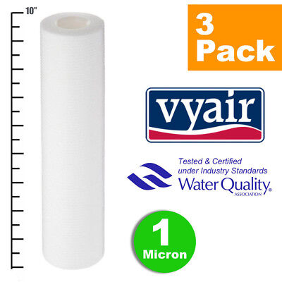 """VYAIR 10"""" PP 1 Micron Particle, Sediment, Reverse Osmosis Water Filter x 3"""