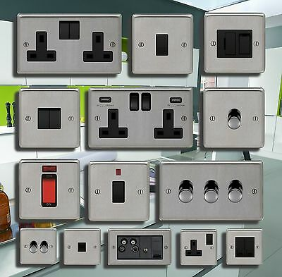 Brushed Steel Usb Double Sockets Standard Or Led Dimmer Light Switch
