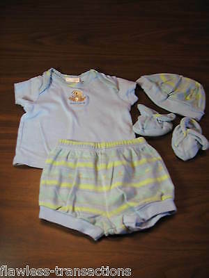 CARTERS 6 Months Baby Boy Clothes Set 4 Piece Outfit Shirt, Shorts, Booties, Cap