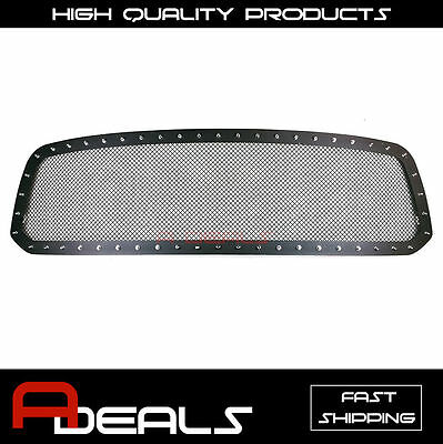 Dodge Ram 1500 2013-2014 2015 16 2017 Steel Black Rivet Wire Mesh Grille Cut out