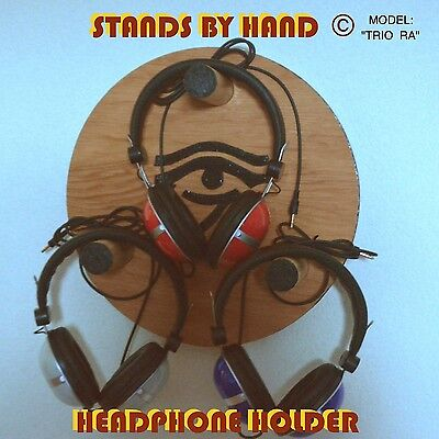 """Wall Mounted, Stands By Hand © """"Trio Ra"""" Headphone Holder"""