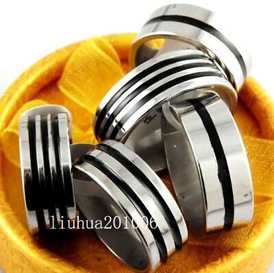 10 quality Black Band enamel Stripe Mens stainless steel Rings wholesale Fashion