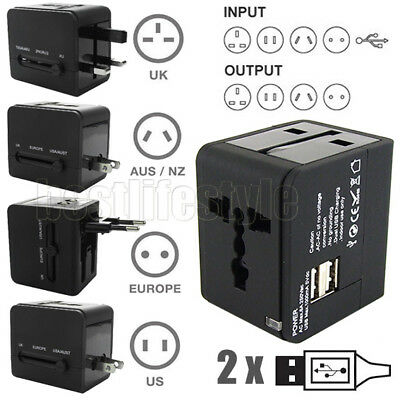 Universal World Travel Adapter Dual 2 USB Plug Charger AC Power UK US EU AU
