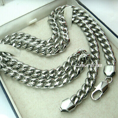 61cm Mens Stainless Steel 8mm Silver Tone Cuban Curb Link Chain Necklace n262