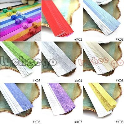 20 Stripes Glitter Folding Origami Paper Lucky Star Assorted Bling Shiny DIY New