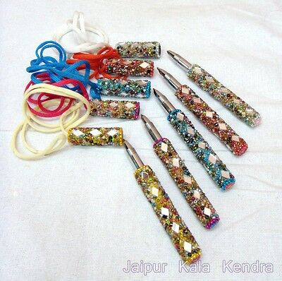 3 Pieces Indian Rajasthani Handmade Fancy Mirror Beaded Designing Pen Home Decor