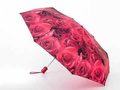 Fulton® Automatic Open & Close Ladies Compact Deluxe Folding Umbrella, Red Roses