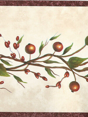 * Sale$  Country Red Berries on vine  45 feet  Wallpaper Border A032