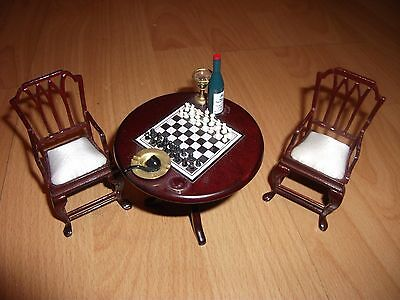 1/12th scale dolls house furniture, chess set on table