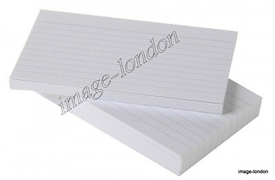 100 x Record Cards White Feint Ruled Flash Revision Report Record Card
