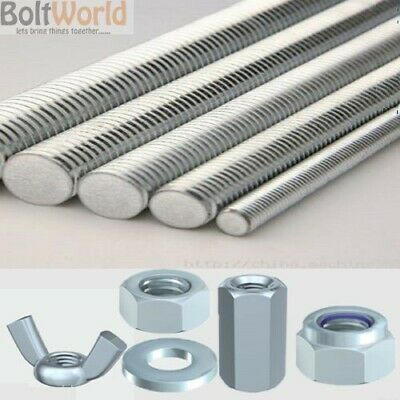 All Full Threaded Metric Bar Studding Rod Zinc Plated Nuts Washers M5 To M30