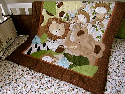 Baby Bedding Cot Set 7pc Crib Quilt Sheet Nursery Nappy Stacker MONKEY LION BROW
