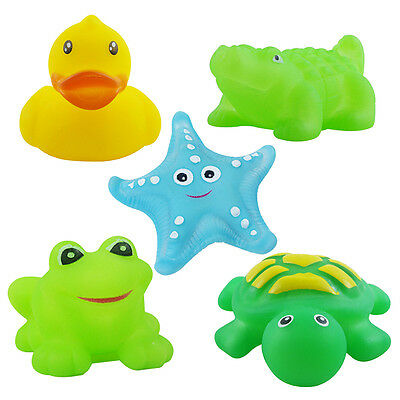 3QMart 5x Baby Rubber Bath Time Squeaky Toys Floating Animal Sea Squirters Set 2