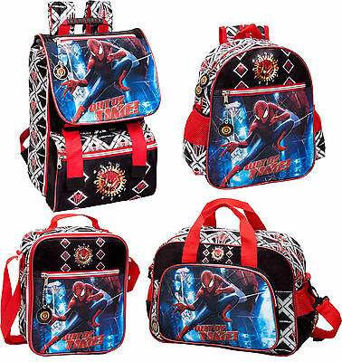 Official Spiderman Black Backpack Rucksack Travel Bag Lunch Bag Boys School
