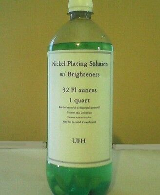 Nickel Plating Solution with Brighteners - One Quart. Free anode!