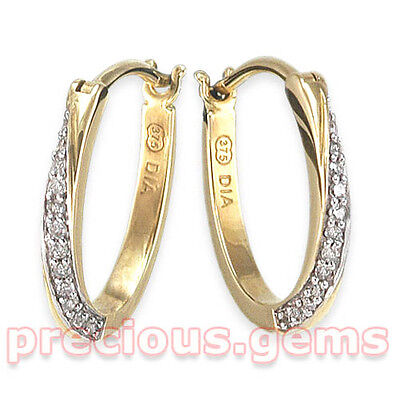 9ct Gold 0.10ct Diamond Twist Huggy Hoop Earrings ~ Half Price, Was £120!!
