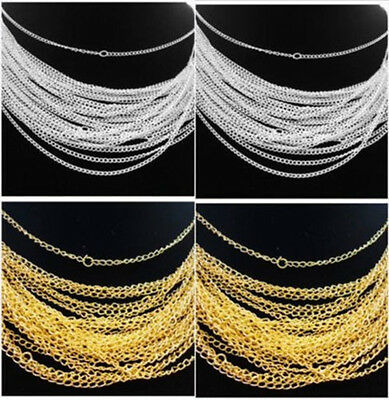 Lots 30/50/100/500pcs Silver/Gold plated chain Necklace finding 48cm,2mm