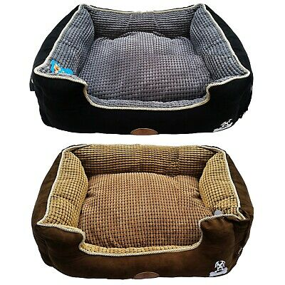2pc Pet Basket Bed with Fleece Soft Comfy Fabric Washable Dog Cat Cosy Dogs Cats