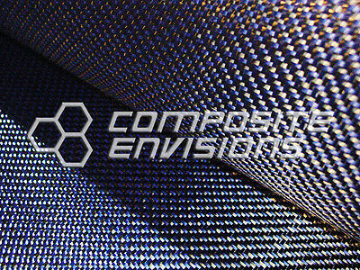 "Carbon Fiber/ Blue Kevlar Cloth Fabric 2x2 DUAL Twill 50"" 3k 6.5oz"