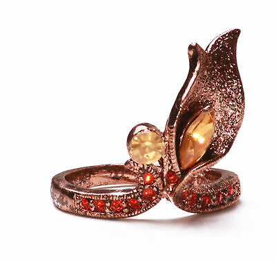 Unique Rose Gold Ladies Stunning Floral Inspired Red/orange Stone Ring (Zx13)Tr