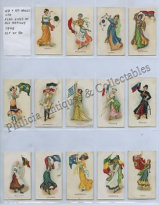 1908 Wd & Ho Wills Ltd 50 Cigarette Cards Flag Girls Of All Nations E91