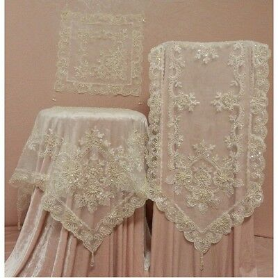 Stunning & Elegant Cream Ivory Lace .. Sequin & Embroidered Table Topper