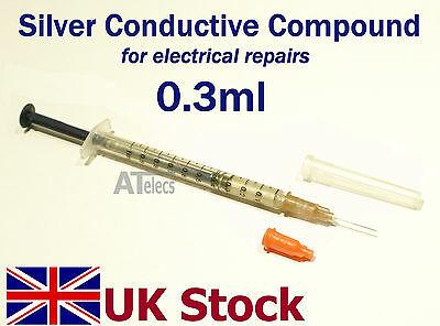 0.3ml Silver Conductive Compound Paint Paste for electrical repairs - UK