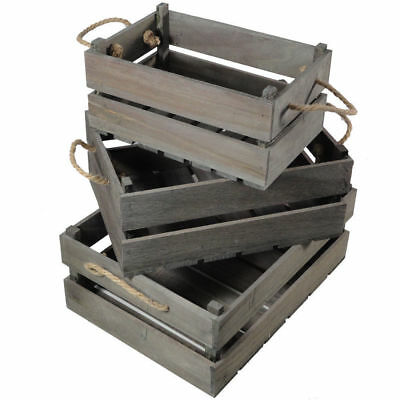 3Set Wood Nested Vintage Shabby Rustic Chic Crates/Storage Boxes/Box Decoration