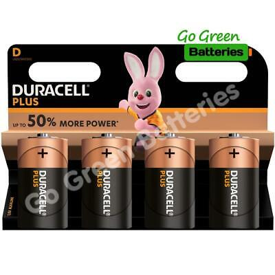 4 x Duracell D Size Plus Power Alkaline Batteries (LR20, MN1300, MX1300, Mono)