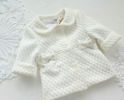 Smart Girls Quilted Baby Christening Coat White Ivory Pink 0-18 M