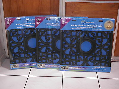 (Lot of 3) Westinghouse Ceiling Medallions Square Parisian Scroll 18x18 (BLACK)