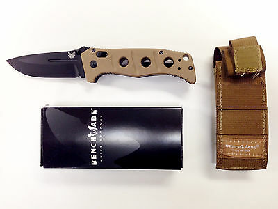 "Benchmade 275BKSN Adamas Manual Folding Knife 3.82"" Blade Sand MOLLE Sheath"