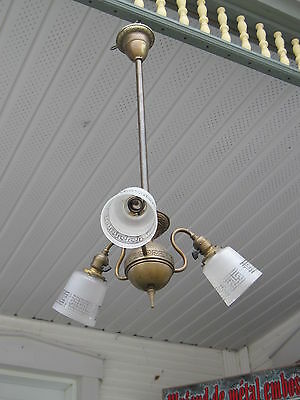 3 Arm Light Fixture Ornate With Greek Key Design On Frame And On Shade