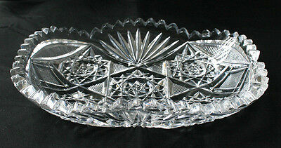 Vintage Clear Cut Glass Brilliant Cut Serving Dish Tray #QA14