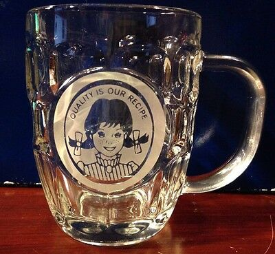 Vintage Wendy's Root Beer Mug Clear Dimpled 18 Oz Collectible Glass W/Handle