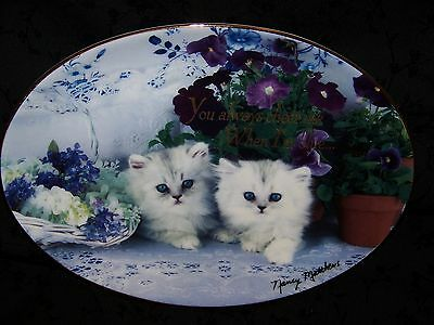 Franklin Mint Porcelain Oval Cat Plate True Blue White Kittens Purple Flowers VG