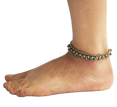 New Blue Anklet Anklets Handmade Handicraft Bohemian Gipsy Chiang Mai, Thailand