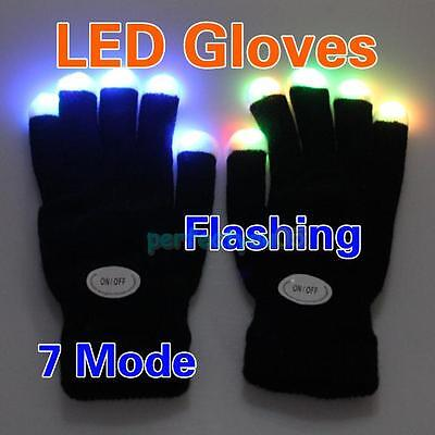 1 Pair Cool LED Rave Flashing Gloves Glow 7 Mode Light Up Finger Lighting Black