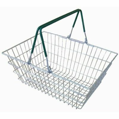 Wire Shopping Hand Carry Baskets available with Green Blue and Red Handles