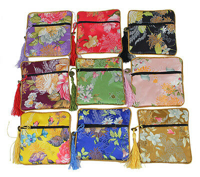 Wholesale10pcs Vintage Chinese Handmade Silk Jeweley Pouches &Gift Bag Purse