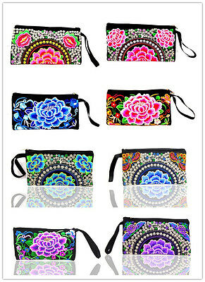 Wholesale 10PCS Chinese Handmade Ethnic Vintage Embroidery  Phone Pouch Wallet