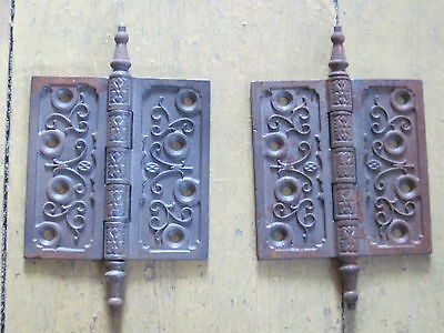 Pair Of Antique Ornate Victorian Butt Hinges Aesthetic Eastlake Door Hinges