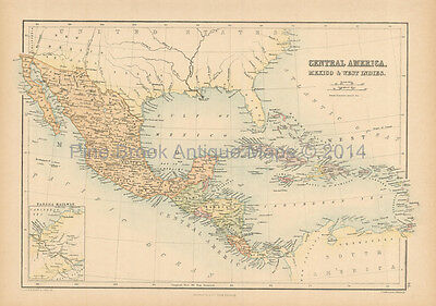 Central America Antique Map Black 1865 Original