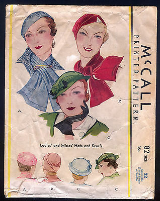 1933 McCall Pattern - Ladies' Hats and Scarfs