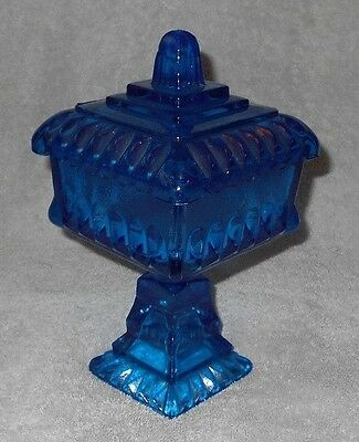 Jeanette Glass Compote      Footed       Lidded        Blue        See Condition