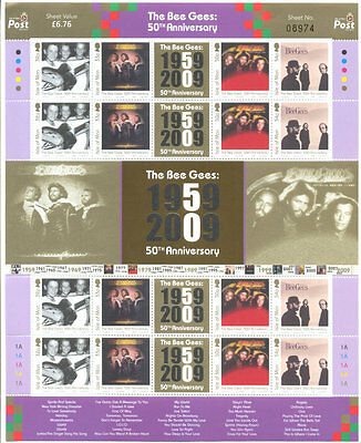 Isle of Man-The BGees 2 special sheets mnh - 50th anniv-music