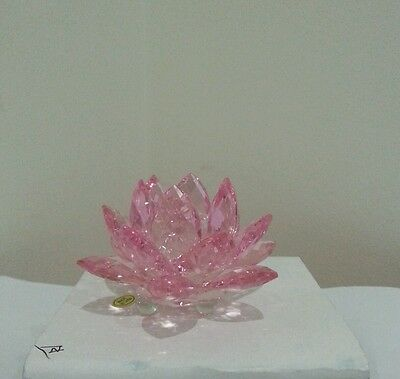 8cm Crystal Glass Faceted Pink Lotus Flower Wedding Gift Decoration