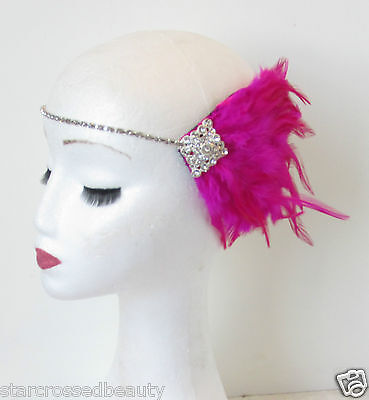 Hot Pink Silver Feather Headpiece Flapper 1920s Vintage Headband Rhinestone N92