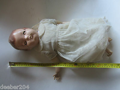 antique doll, super old,1920's?, a reliable doll, canada, crying device, restore